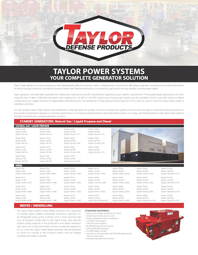 Generators available through Taylor Defense Products
