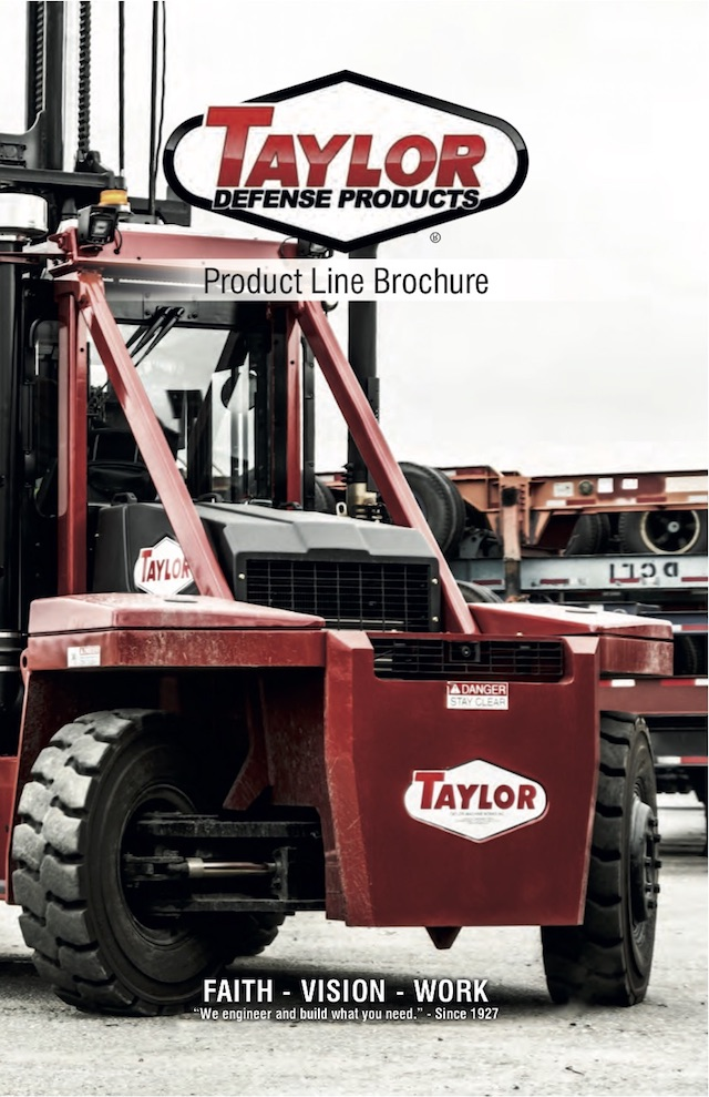 Forklifts and Material Handlers  available through Taylor Defense Products